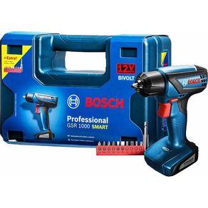 Furadeira-Parafusadeira-a-Bateria-GSR1000-Smart-12V-Bivolt-com-10-Pecas---Bosch---06019F4OEO---Bosch