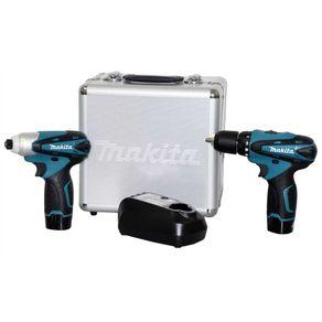 Combo-Furadeira-Parafusadeira---Parafusadeira-Impacto-12V-Litio-LCT204-com-Maleta-Aluminio-Bivolt---Makita---LCT204---Makita