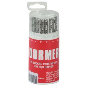 Jogo-de-Broca-Aco-Rapido-10-a-100mm-19-Pecas-Uso-Geral-DIN338---Dormer---A191419---Dormer