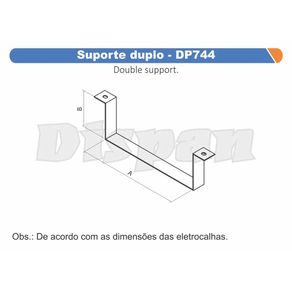 Suporte-Duplo-100x50mm-DP744---Dispan---DP744---Dispan