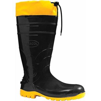 Bota PVC Preto Amarelo Cano Longo Acqualev com Forro e Polaina 13c903a938