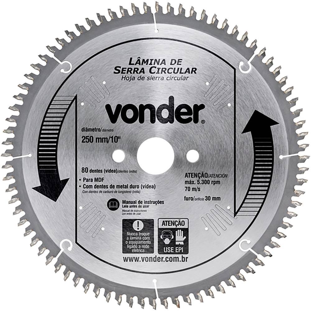 Serra Circular 250x30x3,2mm 80 Dentes Metal Duro para MDF - VONDER ... 8939fd69b7