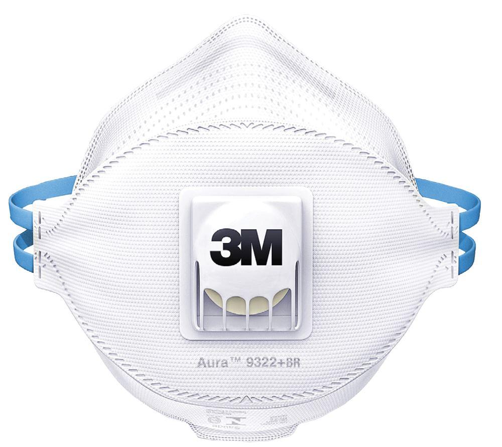 6ea80bda96327 Máscara Descartável com Válvula 9322+BR Contra Pós, Fumos e Névoas - 3M